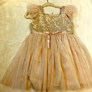 EUC 18 Month Popatu Gold and Ivory Toddler Dress